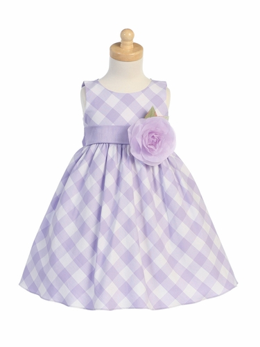 Lilac/White Cotton Gingham Checked Dress