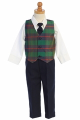 Lito C569 Green Plaid Vest & Navy Pant Set