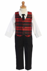 Lito C569 Red Plaid Vest & Black Pant Set
