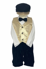 Lito C570 Gold Metallic Vest & Velvet Knicker Set