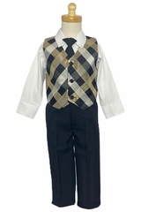 Lito C571 Metallic Plaid w/ Poplin Pant Set