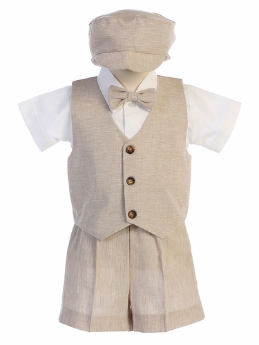 Lito G834 Khaki Cotton Linen Vest & Shorts Set