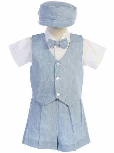 Lito G834 Light Blue Cotton Linen Vest & Shorts Set