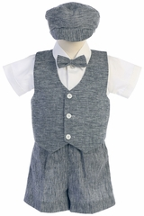 Lito G834 Navy Blue Cotton Linen Vest & Shorts Set