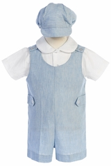 Lito G835 Light Blue Cotton Linen Romper Set