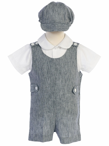 Lito G835 Navy Blue Cotton Linen Romper Set