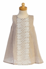 Lito M741 Khaki Cotton Linen A-line Dress w/ Lace