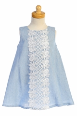 Lito M741 Light Blue Cotton Linen A-line Dress w/ Lace