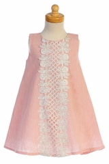 Lito M741 Peach Cotton Linen A-line Dress w/ Lace
