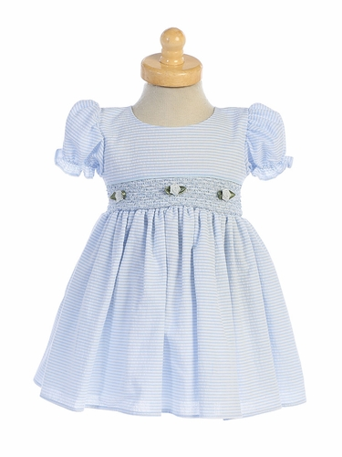 Lito M743 Light Blue Cotton Seersucker Dress w/ Smocked Waist