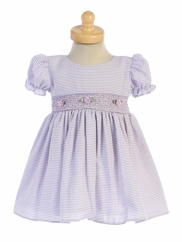 Lito M743 Lilac Cotton Seersucker Dress w/ Smocked Waist
