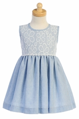 Lito M752 Light Blue Lace & Cotton Linen Dress