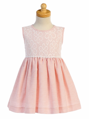 Lito M752 Peach Lace & Cotton Linen Dress