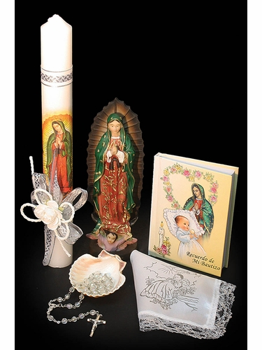 Lito SB3630 Virgin Mary Spanish Baptism Candle Set