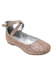 Little Angel BRITT-002D Girls Rose Gold Glitter Double Ankle Strap Shoe