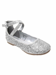 Little Angel BRITT-002D Girls Silver Glitter Double Ankle Strap Shoe