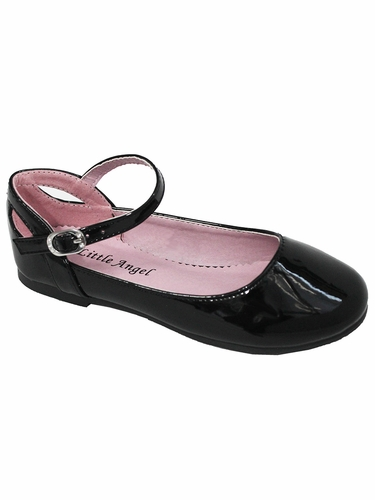 Little Angel BRITT-873D Black Patent Flat w/ Ankle Strap Shoe