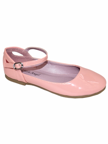 Little Angel BRITT-873D Blush Patent Flat w/ Ankle Strap Shoe