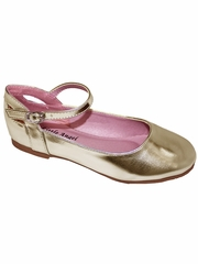 Little Angel BRITT-873D Gold Flat w/ Ankle Strap Shoe