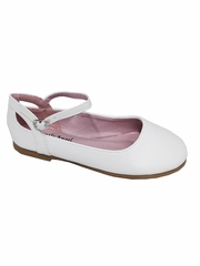 Little Angel BRITT-873D White Flat w/ Ankle Strap Shoe