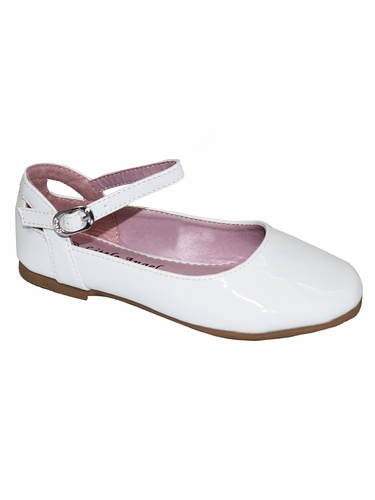 Little Angel BRITT-873D White Patent Flat w/ Ankle Strap Shoe