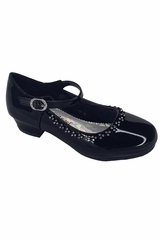 Little Angel DAISY-016 Black Low Heel w/ Rhinestone Shoe