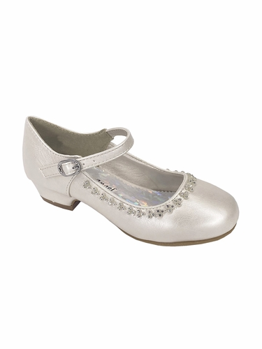Little Angel DAISY-016 Ivory Low Heel w/ Rhinestone Shoe