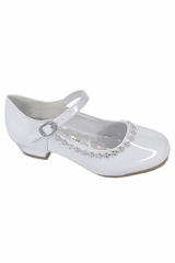 Little Angel DAISY-016 White Low Heel w/ Rhinestone Shoe