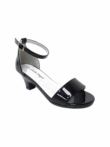 Little Angel DAPHNE-025E Girls' Black Patent Strap Heel Sandal