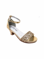Little Angel DAPHNE-025E Girls' Gold Glitter Strap Heel Sandal