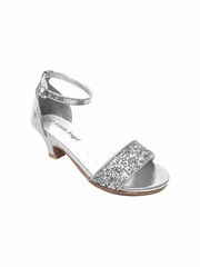 Little Angel DAPHNE-025E Girls' Silver Glitter Strap Heel Sandal