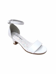 Little Angel DAPHNE-025E Girls' White Patent Upper Strap Heel Sandal