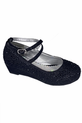 Little Angel SOPHIE 010 Black Glitter Wedge Shoe w/ Straps