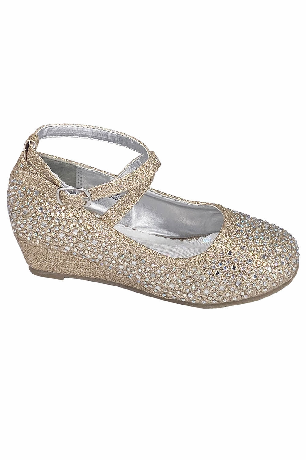 gold glitter wedge shoes