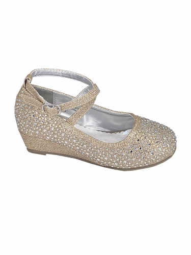 Little Angel SOPHIE 010 Gold Glitter Wedge Shoe w/ Straps