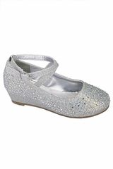 Little Angel SOPHIE 010 Silver Glitter Wedge Shoe w/ Straps