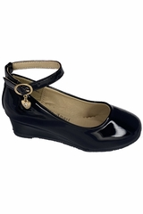 Little Angel SOPHIE- 872 Girls Black Low Wedge Shoe w/ Ankle Strap
