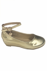 Little Angel SOPHIE- 872 Girls Gold Low Wedge Shoe w/ Ankle Strap