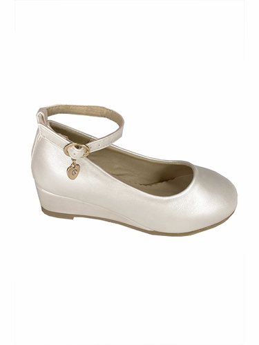 Little Angel SOPHIE- 872 Girls Ivory Low Wedge Shoe w/ Ankle Strap