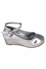 Little Angel SOPHIE- 872 Girls Silver Low Wedge Shoe w/ Ankle Strap