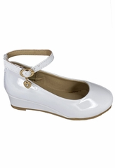 Little Angel SOPHIE- 872 Girls White Low Wedge Shoe w/ Ankle Strap