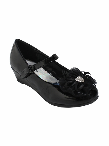 Little Angel SOPHIE- 999 Girls Black Patent Rhinestone Flower Dress Shoe