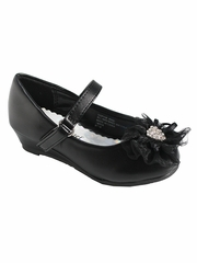 Little Angel SOPHIE- 999 Girls Black Rhinestone Flower Dress Shoe