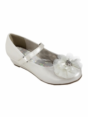 Little Angel SOPHIE- 999 Girls Ivory Rhinestone Flower Dress Shoe