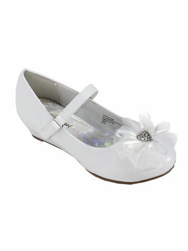 Little Angel SOPHIE- 999 Girls White Rhinestone Flower Dress Shoe