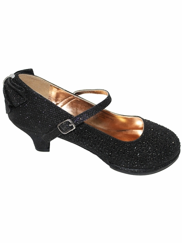 Little Angel TASHA-004 Black Glitter Low Heel Shoe w/ Back Bow