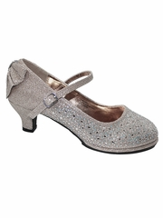 Little Angel TASHA-004 Off White Glitter Low Heel Shoe w/ Back Bow