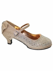 Little Angel TASHA-004 Rose Gold Glitter Low Heel Shoe w/ Back Bow