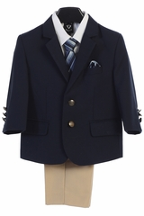 Little Gents 3588 Navy & Khaki 2 Buttoned Boy's 4 Piece Suit