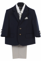 Little Gents 3588 Navy & Light Gray 2 Buttoned Boy's 4 Piece Suit